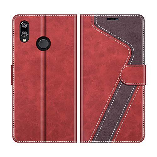 MOBESV Funda para Huawei P20 Lite, Funda Libro Huawei P20 Lite, Funda Móvil Huawei P20 Lite Magnético Carcasa para Huawei P20 Lite Funda con Tapa, Rojo
