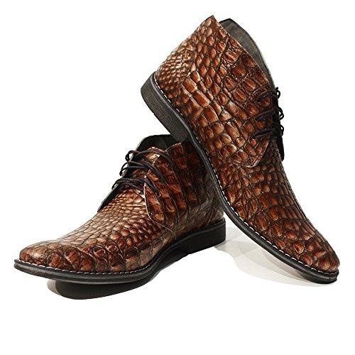 PeppeShoes Modello Umberto - EU 42 - US 9 - UK 8-27 cm - Handgemachtes Italienisch Bunte Herrenschuhe Lederschuhe Herren Braun Stiefeletten Chukka Stiefel - Rindsleder Geprägtes Leder - Schnüren