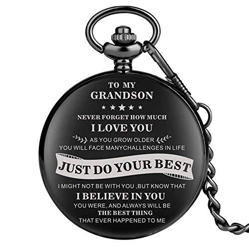 Reloj de Bolsillo Smooth Black TO MY Grandson Diseño Reloj de Bolsillo de Cuarzo Números arábigos Dial Steampunk Reloj Colgante 30 cm Cadena de Bolsillo, con Caja