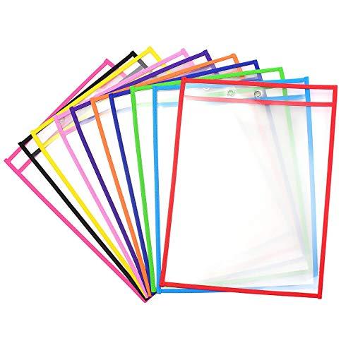 Vordas Welecoco 10 Stück Abwischbare durchsichtige Hüllen,Wiederverwendbare Trocken Abwischbare Taschen Schreibwaren Lieferungen für Büro und Schule, 35.5×25.5 cm