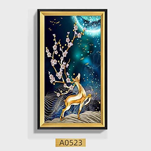 ZHQHYQHHX Wandgemälde Wohnzimmer Flur Flur Vertical Version Lucky Feng Shui Gemälde Elk Black Box 50 * 70cm Hängende Malerei