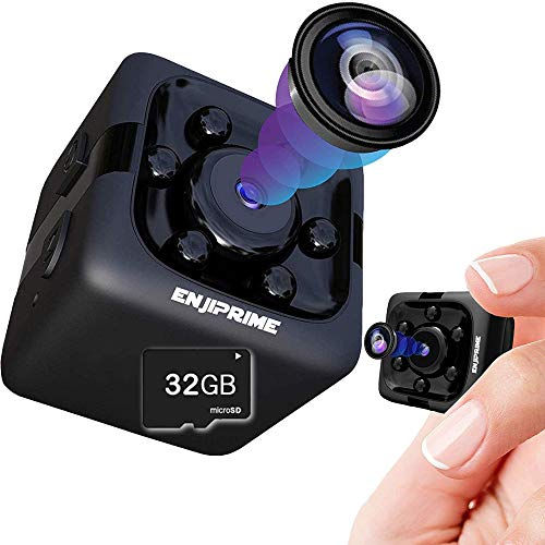 ENJI Spy Hidden Camera Nanny - 32GB SD Card Included, Mini Wireless Cop Cam Action Cameras for Indoor or Outdoor,Home Office or Car, Video Recorder, Night Vision and Motion Detection, Body Camera