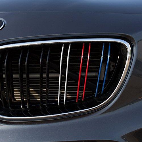 Motoking Nierenaufkleber - REFLEKTIEREND - DOPPELNIEREN-Grill - 48 -teiliges Autoaufkleberset, 4 reflektierende Farben im Set (Dunkelblau, Rot, Weiß-Silber, Hellblau)