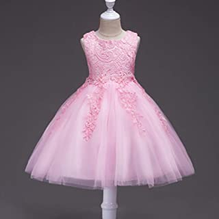 Princess Puff Skirt for 1-8 Years Old Girls Vest Lace Dress (Color : Pink, Size : 130cm)