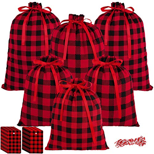 URATOT 6 Pieces Red and Black Plaid Christmas Drawstring Wrapper Bags with 20 Pieces Tags Cotton Pouch Candy Toys Goody Bags Christmas Treat Drawstring Bag for Party Favors, 2 Design