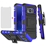 Phone Case for Samsung Galaxy S8 Active with Tempered Glass Screen Protector Cover and Holster Belt Clip Rugged Hard Protective Cell Accessories Glaxay S8Active 8s S 8 8Active G892A Cases Black Blue