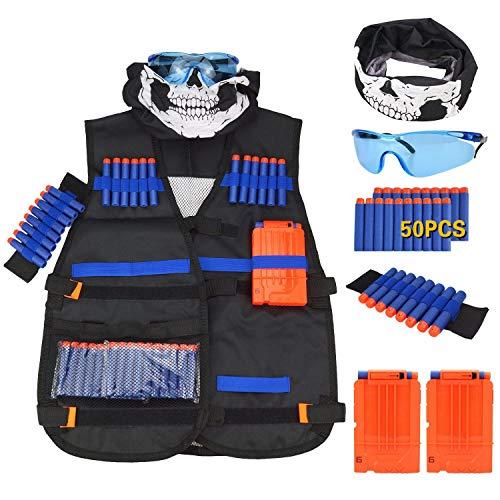Wuudi Taktische Weste Jacke Kit (mit 50er Blau Schaumstoff Darts + Schutzbrille + Nahtlose Gesichtsmaske + 2er Clip Magazine für 7 Darts) Für Nerf N-Strike Elite Serie Spielzeuggewehre