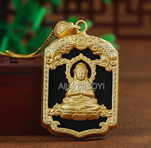 YYSD Jade Hetian Verde Negro Natural + 925 Plata Oro Chino bendición Pixiu Guanyin Amuleto Colgante + Collar de Cuerda joyería Fina