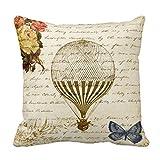 Vintage Beige Hot Air Balloon Print Custom Zippered Pillow Cushion...