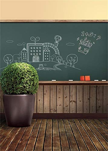 AOFOTO 5x7ft Classroom Chalkboard Background Blackboard Online Teaching Backdrop Back to School Wooden Plank Floor Kids Student Teacher Child Portrait Kindergarten School Photoshoot Studio Props Vinyl