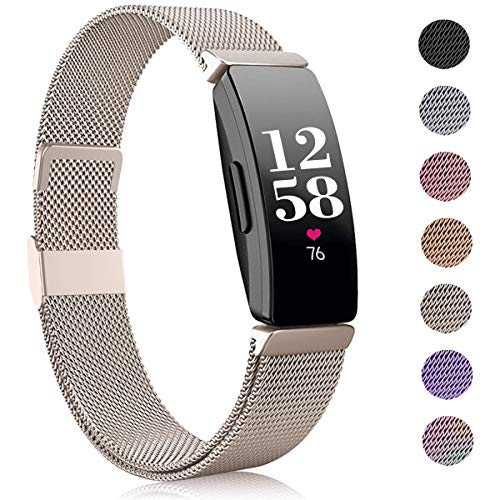 Funbiz Kompatible mit Fitbit Inspire Armband/Inspire HR Armband, Edelstahl Ersatzarmband mit Einzigartiges Schloss Kompatible mit Fitbit Inspire/Inspire HR/Inspire 2/Ace 2, Groß, Champagner