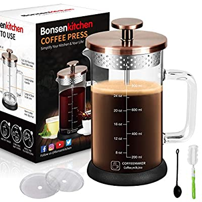 Upgrade Stainless Steel Strainer Large Coffee French Press 34Oz with 4 Level Filter Screens, Built In Thicker Borosilicate Glass, Easy Clean & Using Coffee Press For Home, Kitchen, Office-Bronze