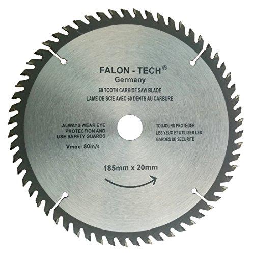 FALON-TECH, lama per sega circolare per legno, 185 x 20-16 mm, 60 denti