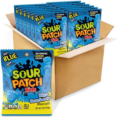 Sour Patch Kids Blue Raspberry Soft & Chewy Candy, 12 - 5 Oz Bags, 12Count