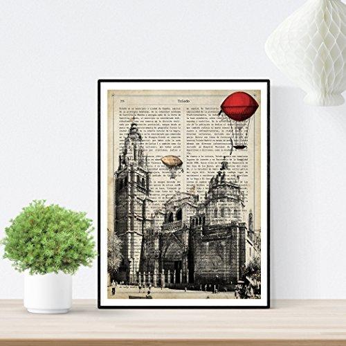 Nacnic Lámina Ciudad de Toledo. Estilo Vintage. Ilustración, fotografía y Collage con la Historia DE Toledo....