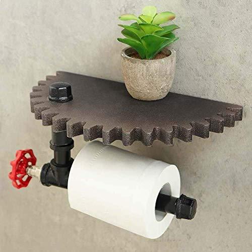 L.BAN Gewerbliche Toilettenpapierhalter Retro Industrial Style Badezimmer Toilettenpapierhalter Roller Wood Gear Wandregal Papierhalter Wandhalterung Metall Wc Papierregal