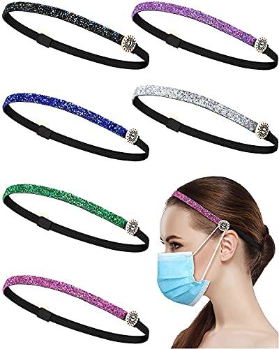 Monnstar 6 diademas con botones, cinta fina y brillante, banda elástica antideslizante para la cabeza (4 patrones modernos).