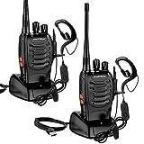 Walkie Talkie Recargables, 16 Canales Profesional Radiocomunicación USB con Linterna LED y Auriculares, Equipos Transmisores-receptores para Caza, Coche, Construccion