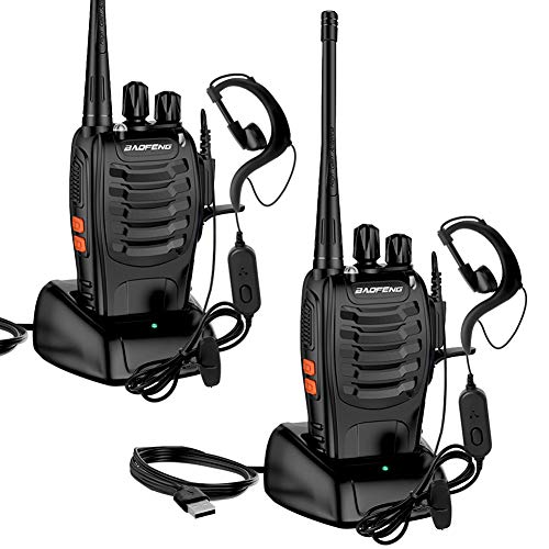 Walkie Talkie Recargables, Swonuk 16 Canales Profesional Radiocomunicación USB con Linterna LED y Auriculare 1500mah CTCSS DCS 6KMs, Equipos Transmisores-receptores para Caza, Coche, Construccion