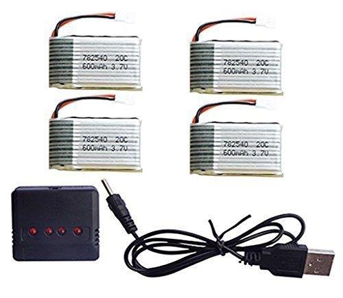 YUNIQUE ESPANA Cargador con 3 batería de 3.7V 600 mAh y uno de 3.7V 650 mAh para Syma X5C X5SW