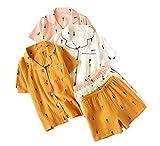 NATASHA& 2020SummerWomenPajamas s with PantsShort Sleeve Turn-Down CollarPyjamas s Cotton Button Top+Pants Color 2 XL