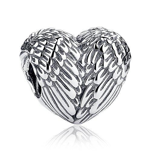 Charm-Anhänger mit Federn und Herzen, 925 Sterlingsilber, passend für europäische Armbänder (2)