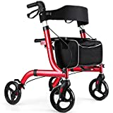 Healconnex Rollator Walkers for Seniors-Folding Rollator Walker with Seat and Four 8-inch Wheels-Medical Rollator Walker with Comfort Handles and Thick Backrest-Lightweight Aluminium Frame and Basket