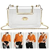 MOETYANG Womens Transparent Clutch Clear Purse Crossbody with Golden Chain Strap NFL&PGA Stadium Approved Bags