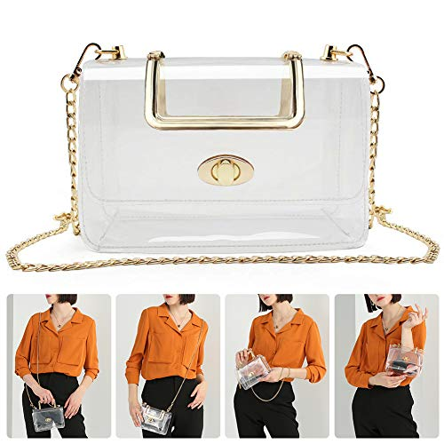 MOETYANG Womens Transparent Clutch Clear Purse Crossbody with Golden Chain Strap PGA Stadium Approved Bags
