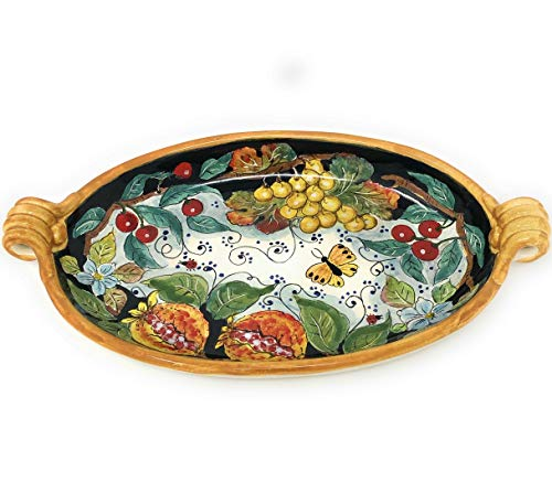 CERAMICHE DARTE PARRINI Italian Ceramic Pottery Spoon Rest Holder Decorated Lemons Amalfi Art Hand Painted Made in ITALY Tuscan Florence