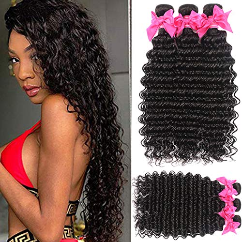Lace Rosa 9A Brazilian Virgin Hair Deep Wave 3 Bundles ( 24 26 28 ) 100% Unprocessed Natural Color Can Be Dyed and Bleached