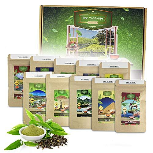 Monsterzeug Tee Weltreise Geschenkset, Teereise um die Welt, 10-teiliges Teeset in praktischer Box, 250 g