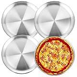 Wezvix, teglia per pizza in acciaio inox, 25,4 cm, per pizza, teglia rotonda, per forno, resistente e lavabile in lavastoviglie, confezione da 4