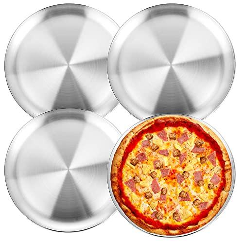 WEZVIX - Bandeja redonda para pizza de acero inoxidable, 25,4 cm, apta para lavavajillas, 4 unidades