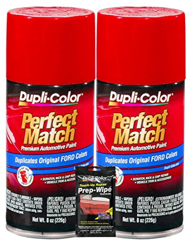 Dupli-Color Cardinal Red Exact-Match Automotive Paint for Ford Vehicles - 8 oz, Bundles with Prep Wipe (3 Items)
