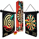 NAIMAY Magnetic Dart Board for Kids Teenagers and Adults, Indoor Outdoor Game, Safe Toy Dart Game Set with 12 Darts, Rollup Double Sided Board Game Set, Gift for Boys and Girls Age 7 and up