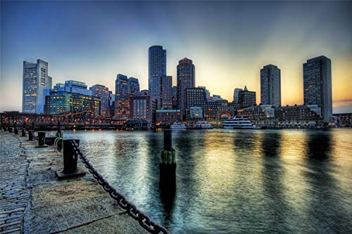 Adult Jigsaw Puzzle 1000 Piece Wooden Puzzle Boston On The Dusk Very Good Educational Game