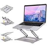 "Co-Goldguard Laptop Stand for Desk,Folding Adjustable Height Portable Ergonomic for Table Notebook Raised Up Holder Ventilated Computer Cooling Stands for 10-17""Laptops Silver"