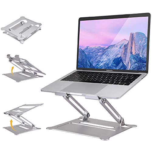 """Co-Goldguard Laptop Stand for Desk,Folding Adjustable Height Portable Ergonomic for Table Notebook Raised Up Holder Ventilated Computer Cooling Stands for 10-17""""Laptops Silver"""