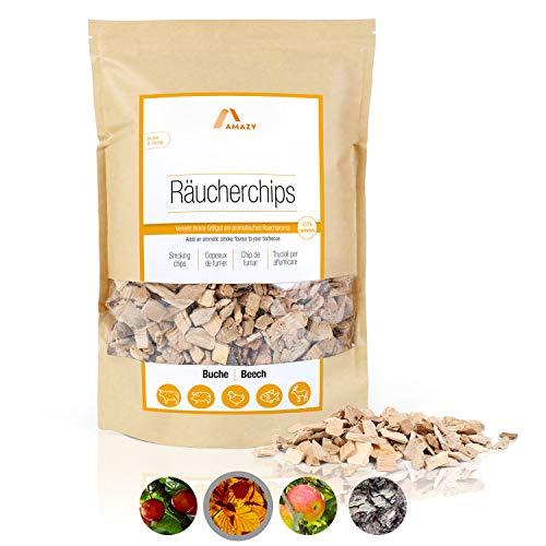 Amazy Räucherchips Buche | 1000 g – Aromatisches Smoker Holz mit dem traditionellen Aroma Buche für EIN neutrales Räucher Aroma – Ideales Raucharoma für das Grillen, Räuchern und Barbecue