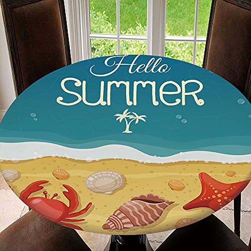 AmaUncle Elastic Edged Table Cover, Round Tables Tablecloth Table Cloth, Summer Beach with Sea Shells, Crab and Waterproof Table Pads Model1965 Fit for 38.2'-42.1' Table