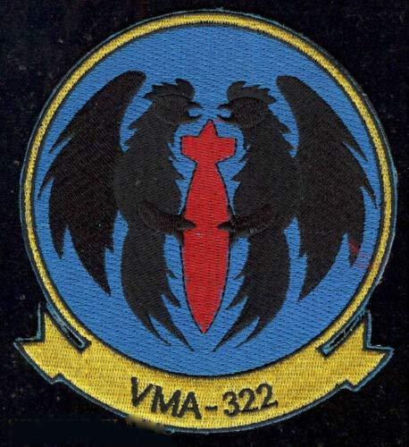 VMA-322 Fighting Gamecocks Embroidery Patch US Marines 4th Maw MAG MCAS NAS South Weymouth Military Veteran