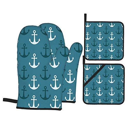 Gokruati Guantes de Horno Guantes de para Horno Antideslizante Resistentes al Calor,2 Guantes de Horno + 2 Almohadillas de Mantel,Patrón náutico Ducha Azul Marino y Verde Azulado