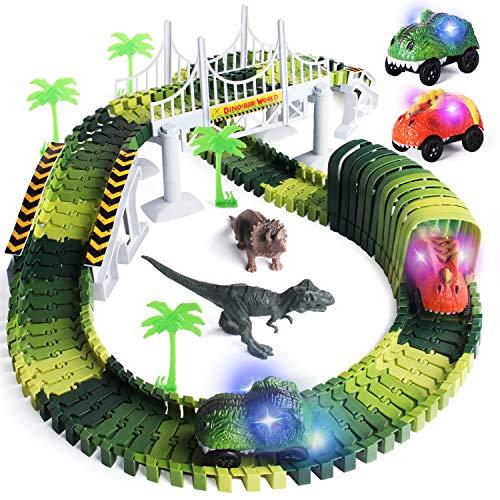 Lydaz Dinosaur Slot Car Race Track Sets, Building a Road with Flexible Train Track Tunnel Blocks, Christmas Birthday Gift Toys for 2 3 4 5 6+ Year Old Boys Girls (2 led Dinosaur Cars )