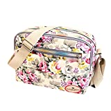Goddessvan Fashion Women Floral Canvas Crossbody Bag Shoulder Bag Messenger Bag Cosmetic Bag White