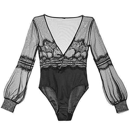 Black Mesh Geborduurde Lace Hechten Jumpsuit met lange mouwen diepe V-Open Buckle Wild Black ZHQHYQHHX (Size : L)