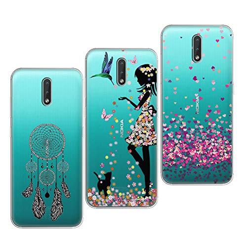 PZEMIN 3 Stück für Nokia 2.3 Hülle Handyhülle Silikon Gummi Clear Schale Transparent Durchsichtig TPU Bumper Schutzhülle, Traumfänger + Hübsches Mädchen + Liebe