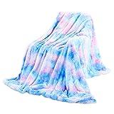 Galatée 160 * 200cm Colores Moda única Manta para Sofás Diseño Iridiscente,Manta para Cama Microfibra Piel Artificial Suave Cálida,Manta de Invierno Adecuada para Sofá Cama Decora tu Vida Azul