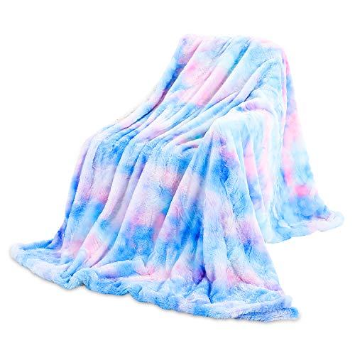 Galatée Couverture 160 * 200cm Double Face Confortable Couleur Arc-en-Ciel à la Haute Qualité Moelleuse Couverture Polaire,Plaid Peluche Artificielle Douce Chaude,Adaptée Canapé ou au Lit Bleu