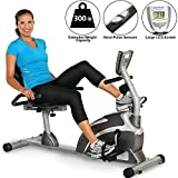 Exerpeutic 900XL recumbent bike with magnetic brake, heart rate measurement, extra high maximum user weight of 136kg and suitable for tall people up to 2.01m